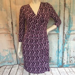 NWT 41 HAWTHORN Purple Print Ruched Career Dress